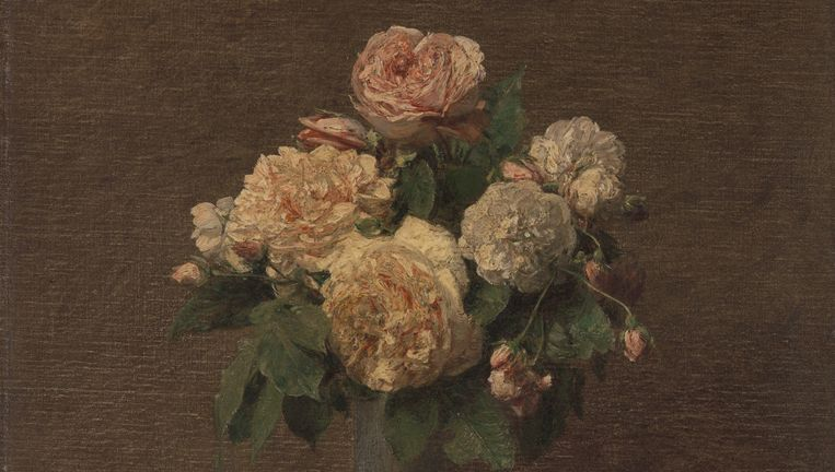 Henri Fantin-Latour, Roses sur fond sombre (Rozen tegen donkere achtergrond/Roses Against a Dark Background), 1880, Beeld Stichting Kröller-Müller Museum