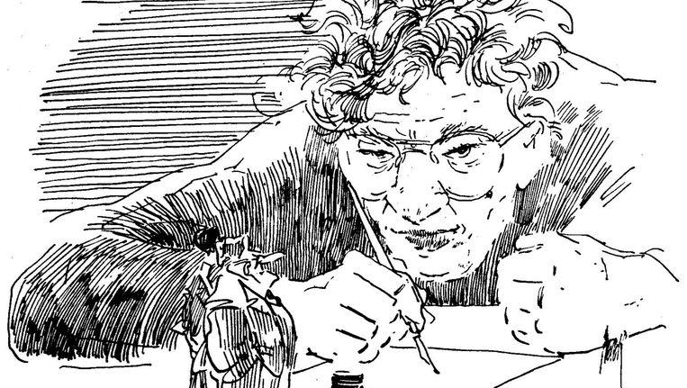 Zelfportret Peter van Straaten ter gelegenheid van het afscheid van de fameuze strip Vader en Zoon. Beeld Peter van Straaten