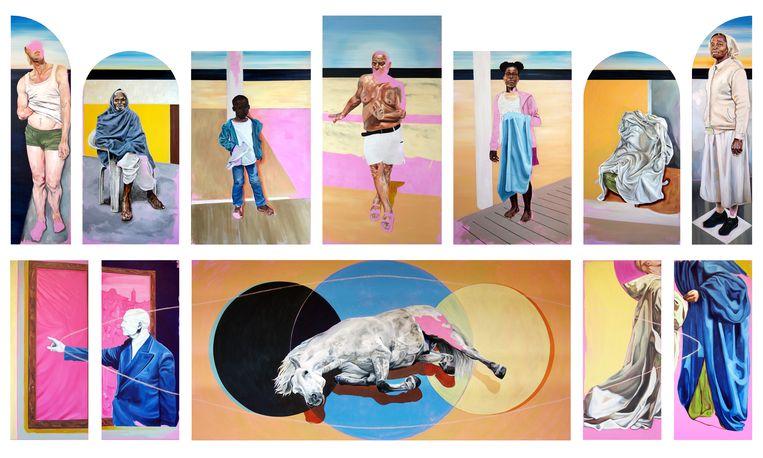 Lam Gods van Merel Jansen, te zien op Big Art in Zaandam. Beeld BIG ART