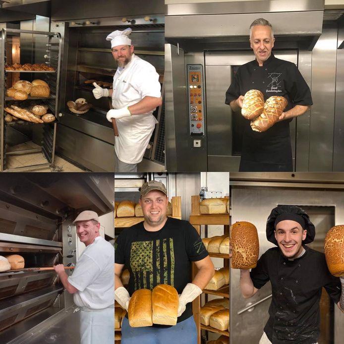 Enkele bakkers poseren fier bij hun oven. Rechtsboven staat Geert Vanderheyden.