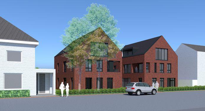 Een artist impression van de twee nieuwe appartementengebouwen zoals die moeten herrijzen aan de Julianastraat.