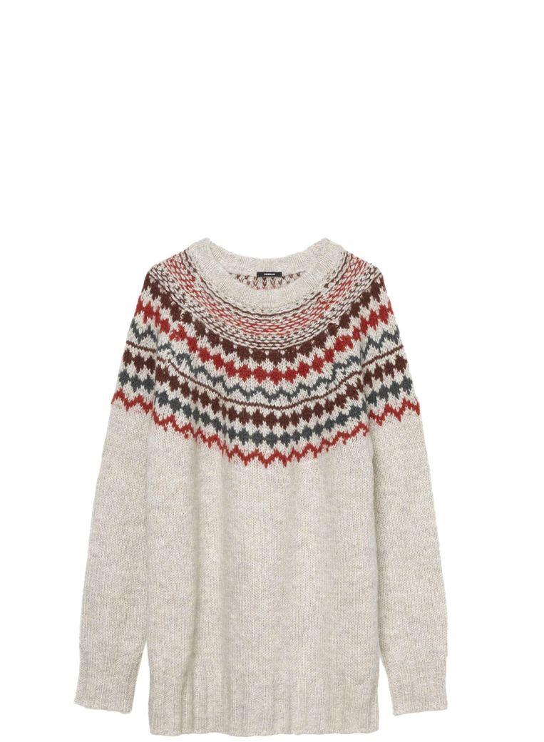 Beige trui met rode details van Denham, euro 189,98 Beeld