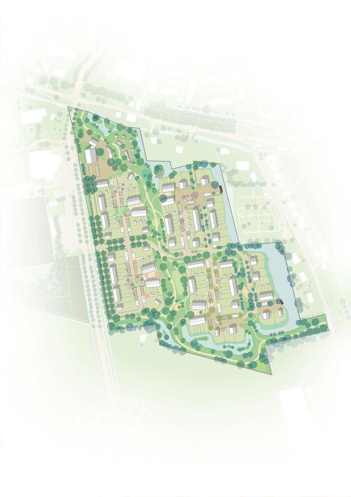 Zo ziet Tienvoet in Heinenoord er van bovenaf uit. Dwars door de nieuwbouwwijk moet er vooral veel ruimte komen voor groene waarden en kreekjes