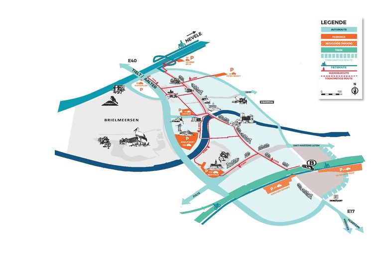 De randparkings en de kortste wandelafstand in kaart gebracht.