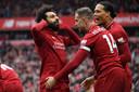 Mo Salah viert zijn treffer.
