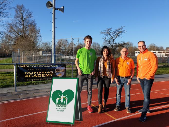 Lars Golstein van de Woerdense Singelloop, Debbie van Kuijk van Hardloop Event Harmelen, Gijs de Heer van de Kamerikse Weteringloop en Marco Spijker van Rondje Zegveld.