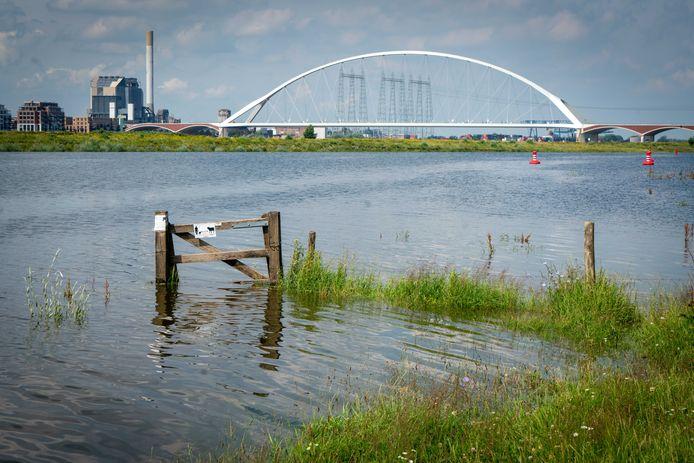 Het water in de Waal staat nu al hoog.