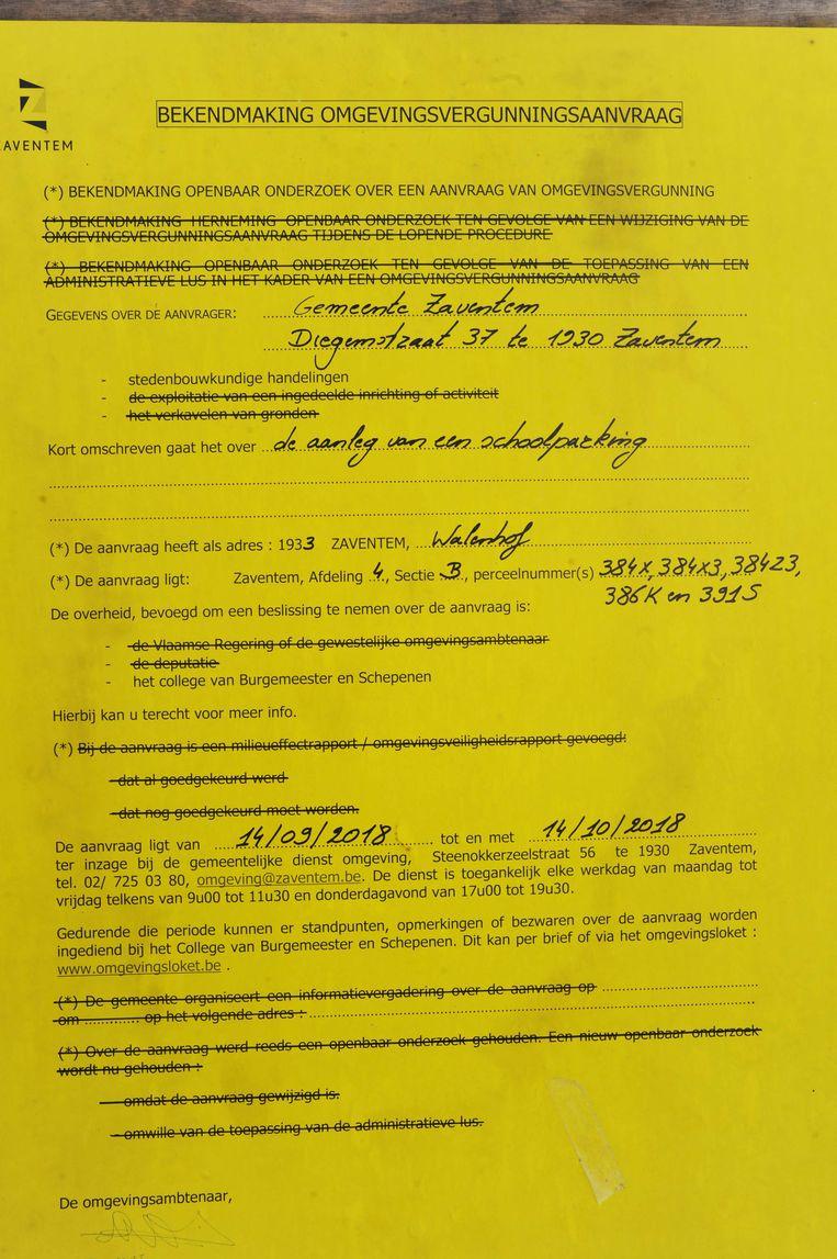 Het openbaar onderzoek voor de aanleg van de parking loopt nog tot 14 oktober.           Foto's : Lukas Tekst  : Robby Dierickx