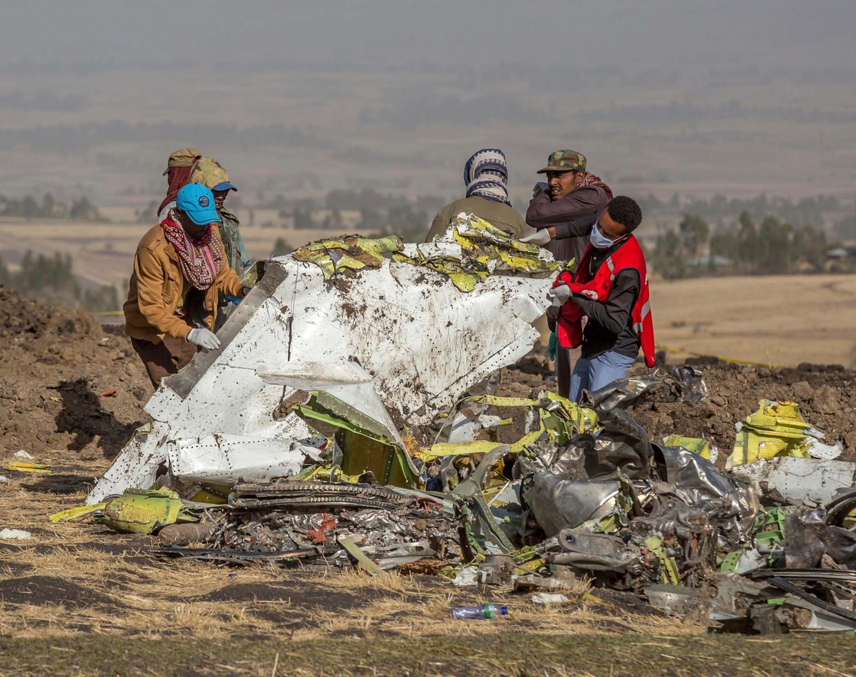Maandag 11 maart crashte een vlucht van Ethiopian Airlines na problemen met de Boeing 737.  Beeld AP