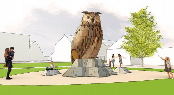 Een houten uil op het Vrijheidspark in Winterswijk wordt het nieuwe speeltoestel voor kinderen