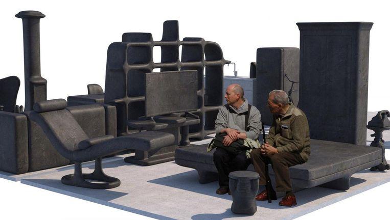 De meubels uit beton en brons vormen een appartement in de open lucht. Beeld Matthew Darbyshire