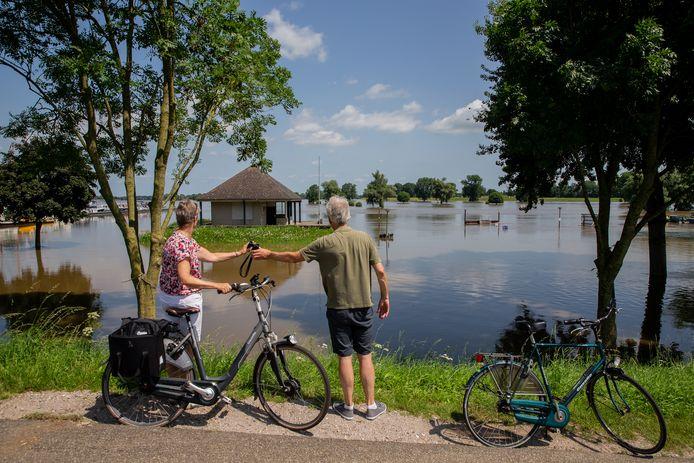 Ook in de Gouden Ham in Maasbommel staat het water hoog en komt nodigde fietser het van dichtbij bekijken.