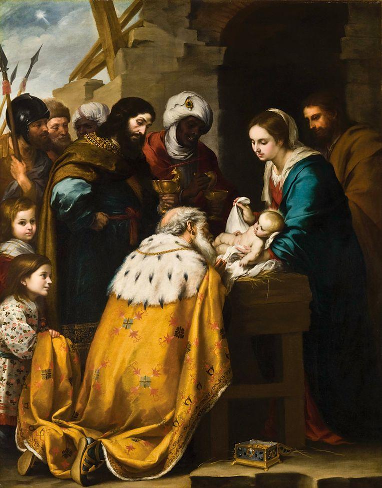 Aanbidding van de Wijzen (ca. 1657), Bartolomé Murillo 1617-1682) Beeld .