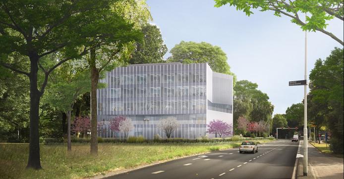 Een impressie van het nieuwe kantoor van SDK Vastgoed aan de Bouvigne in Eindhoven, gezien vanaf de Meerveldhovenseweg, de stad in.