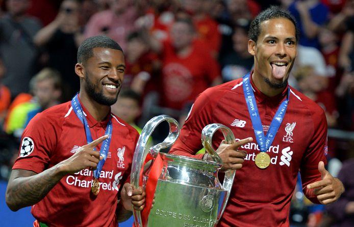 Georginio Wijnaldum (links) en Virgil van Dijk wonnen vorig seizoen met Liverpool de Champions League.