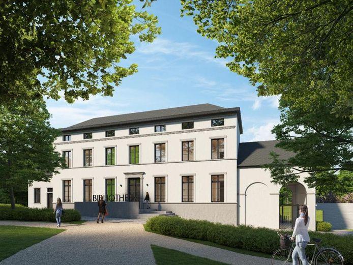 Een 3D-beeld van hoe het landhuis de Viron in Sint-Pieters-Leeuw er na de renovatie zal uitzien.