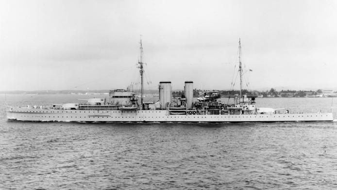 The Exeter in 1939, drie jaar voordat het in de straat van Sunda door Japanners werd beschoten en zonk.