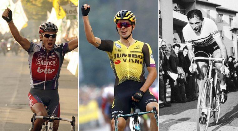 Ex-winnaars Philippe Gilbert (links), Fausto Coppi (rechts) en favoriet Primoz Roglic (midden).