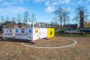 Stellage op de Markt Prinsenbeek.