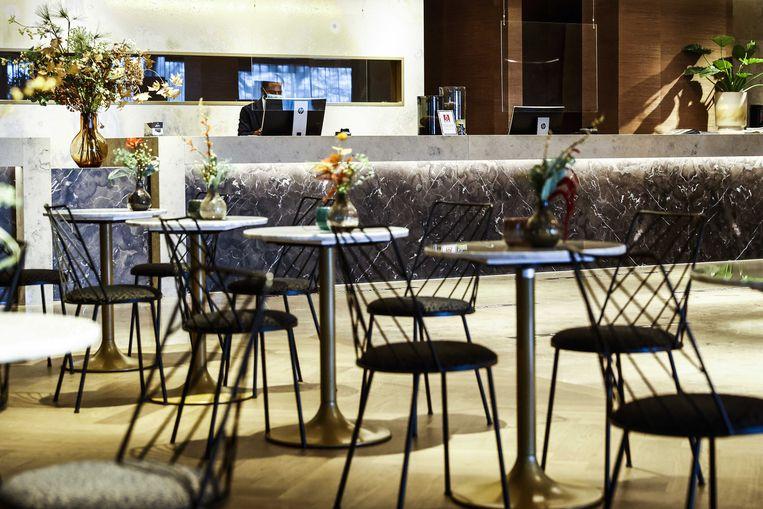 Lege lobby in een Van der Valk-hotel tijdens de lockdown. Beeld ANP