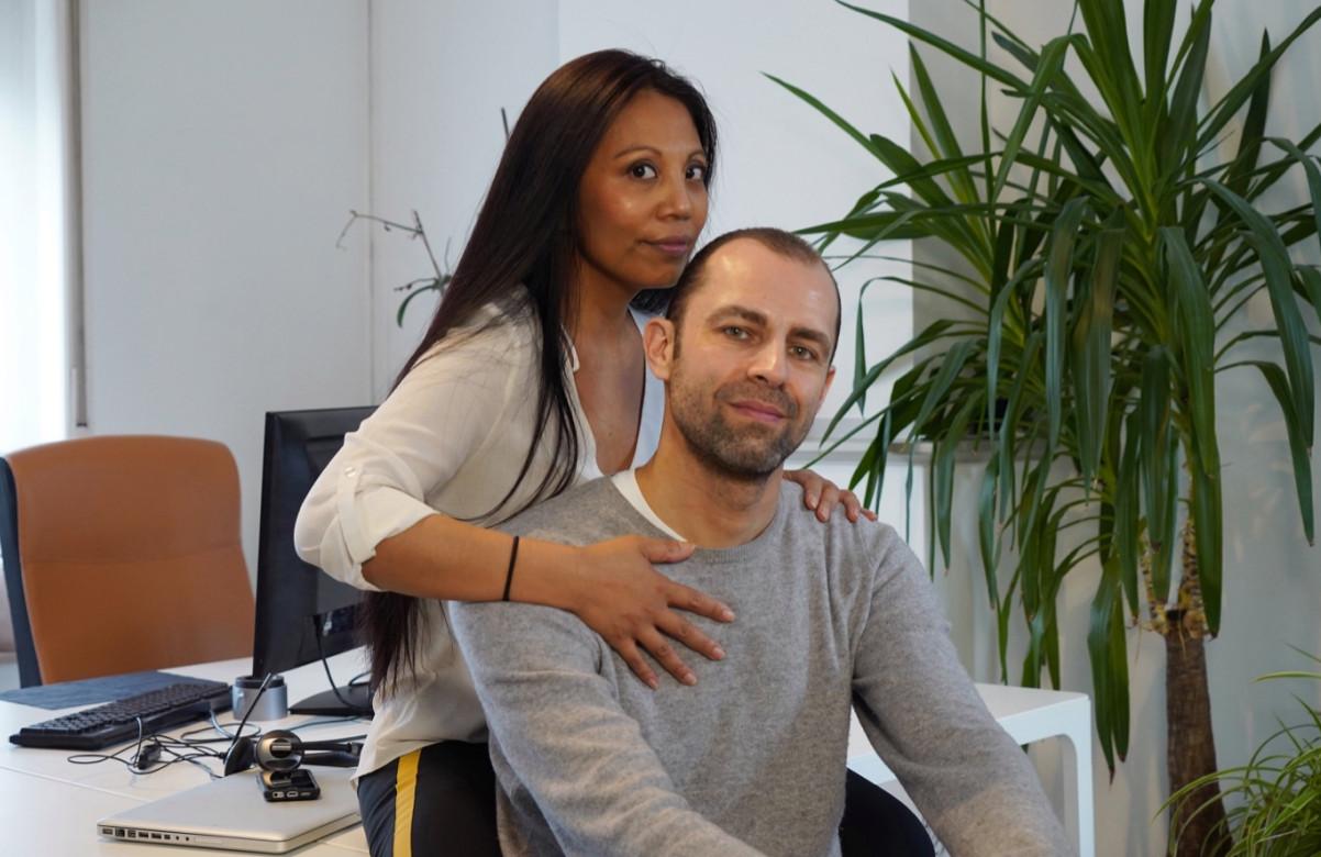 Wouter Frans en Jennifer Menten in de burelen van JEM Productions.