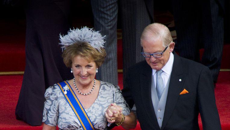 Prinses Margriet en Pieter van Vollenhoven vertrekken uit de Ridderzaal na de troonrede op Prinsjesdag 2012. Beeld anp