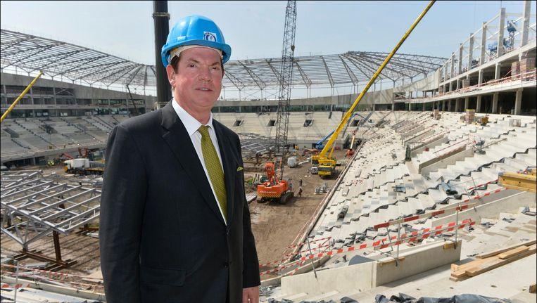 Paul Gheysens bouwde met Ghelamco een nieuw stadion voor AA Gent, op deze foto nog in volle opbouw.