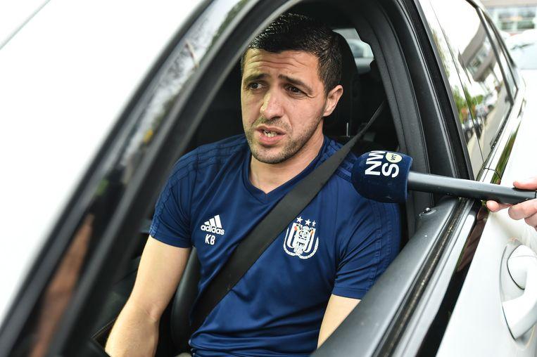 Karim Belhocine bij het verlaten van de club, deze middag.