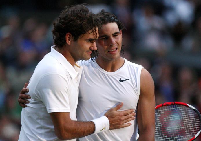 6 juli 2008: Rafael Nadal heeft net Roger Federer verslagen.