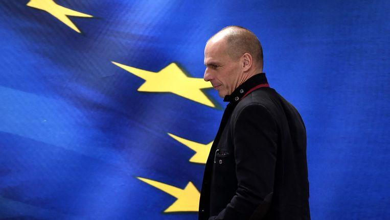 De nieuwe minister van Financiën van Griekenland, Yanis Varoufakis, in Athene vandaag. Beeld afp