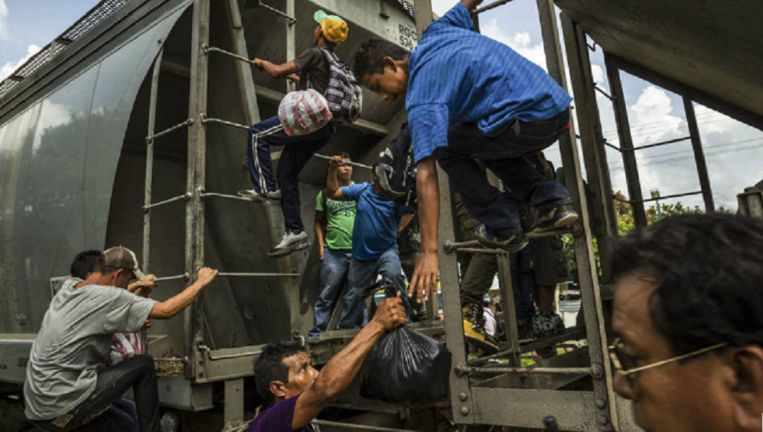Migranten uit Midden-Amerika klimmen in Mexico op 'Het Beest', de vrachttrein die hen richting de Verenigde Staten moet voeren. Beeld Hollandse Hoogte