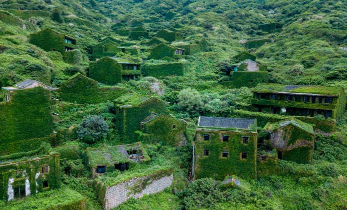 Huizen in het verlaten Chinese dorp Houtouwan zijn volledig overwoekerd door platen nadat bijna de gehele bevolking naar de grote stad vertrok.