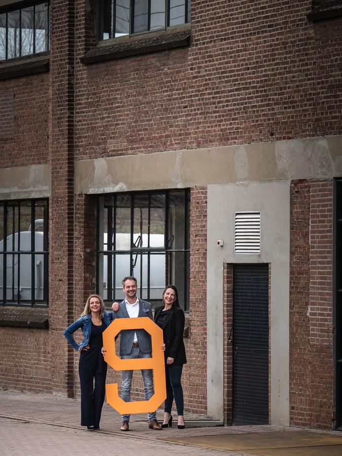 Maarten Smidt met de mede-oprichters van NineOrange, Mascha Baxs en Jessica Waalderbos.