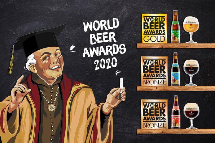 Drie medailles voor brouwerij St.Bernardus uit Watou op Word Beer Awards.