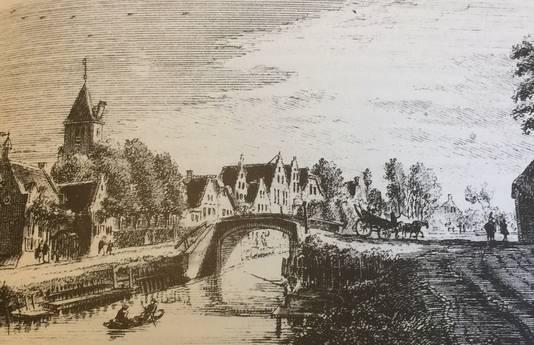 Een ets van de voormalige kerk in De Meern, gemaakt door H. Spilman naar een tekening van J. de Beyer uit 1744.