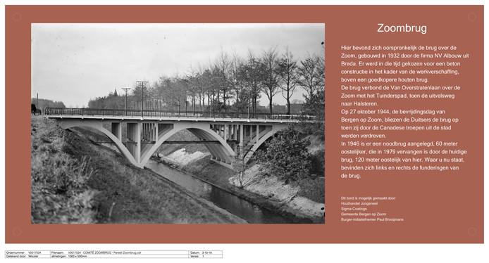 Bij de blootgelegde fundering van de oude Zoombrug komt een plaquette met informatie over de op 27 oktober 1944 kapot geschoten brug.