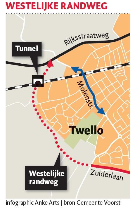 Het laatste deel van de randweg moet aan de westkant van Twello komen liggen.