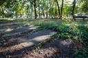 Een deel van de begraafplaats dat nog opgeknapt moet worden