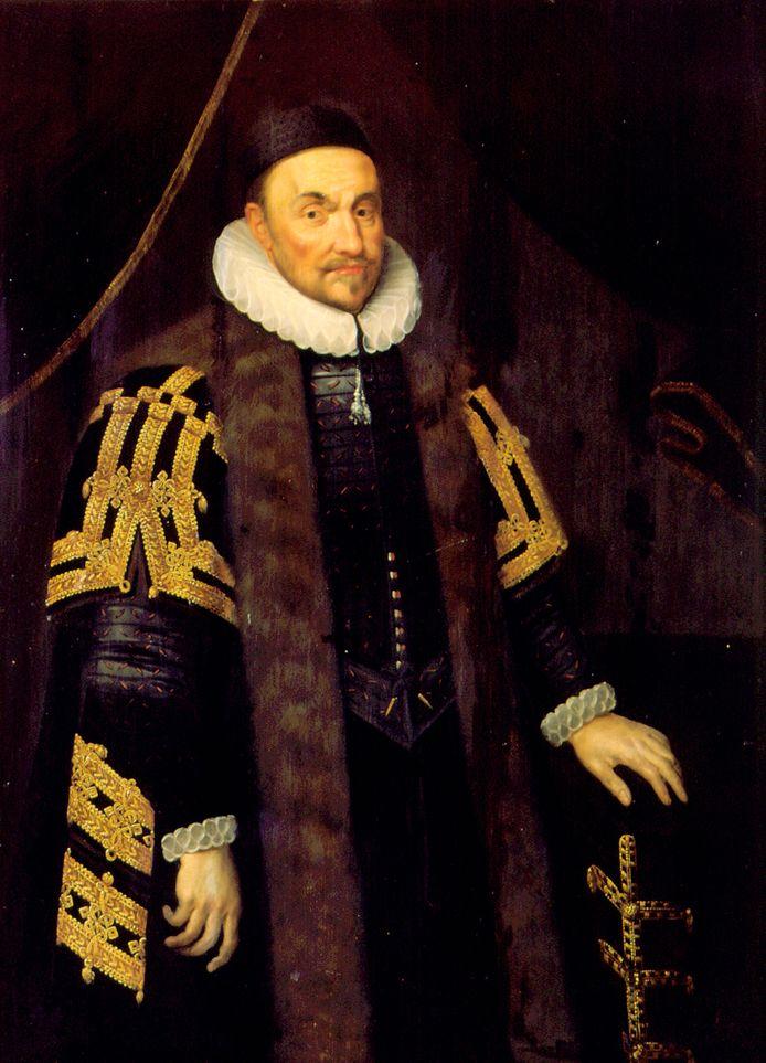 Het schilderij van Willem van Oranje dat in de raadszaal van Tholen hangt.