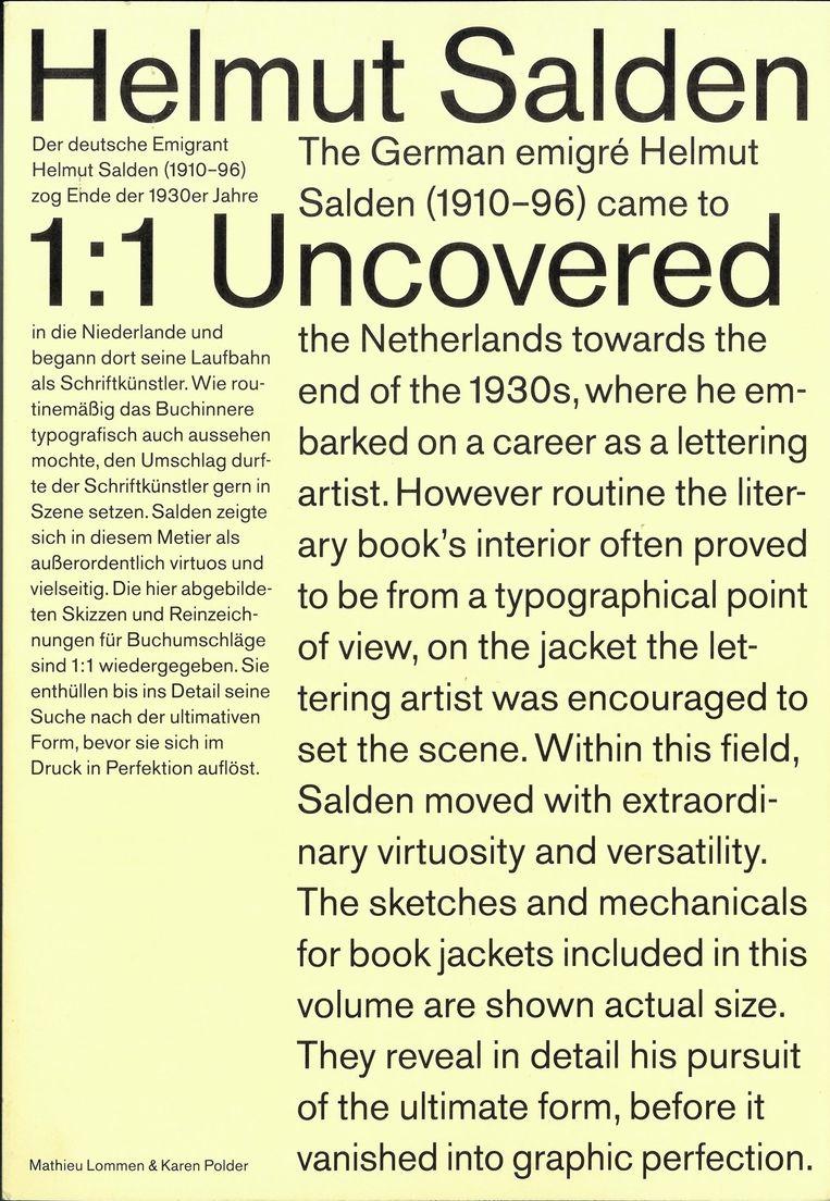 Omslag Helmut Salden Uncovered 1:1, ontwerp Karen Polder. Beeld Karen Polder