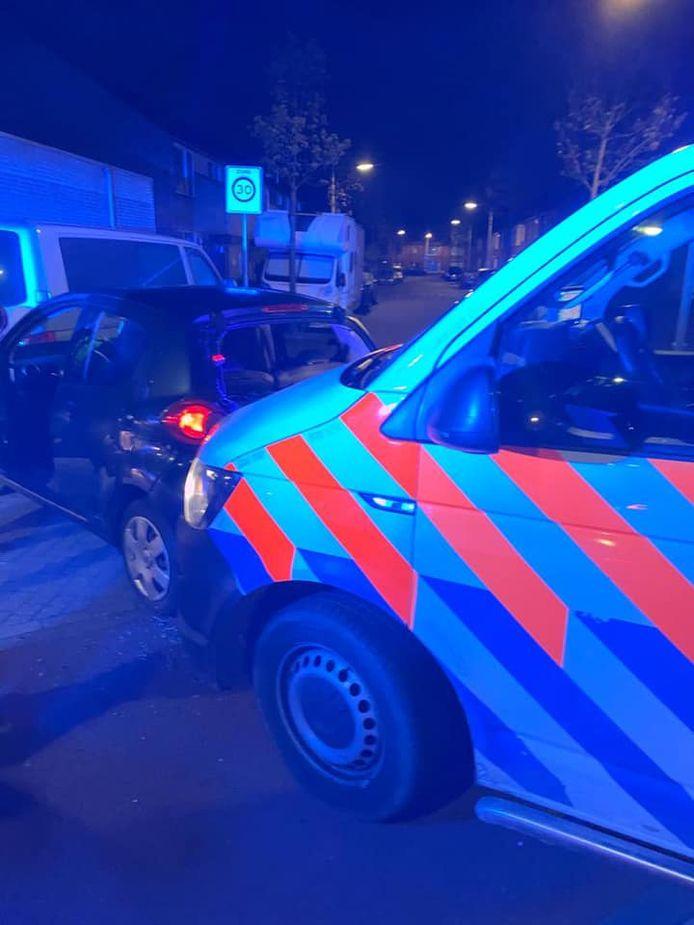De betrokken auto in Bergen op Zoom.