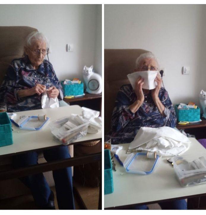 Een 99-jarige bewoonster van zorgcentrum Rosengaerde naait mondkapjes.