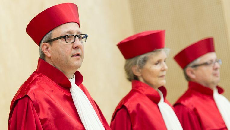 De rechters van het constitutioneel hof tijdens de uitspraak vandaag Beeld ap