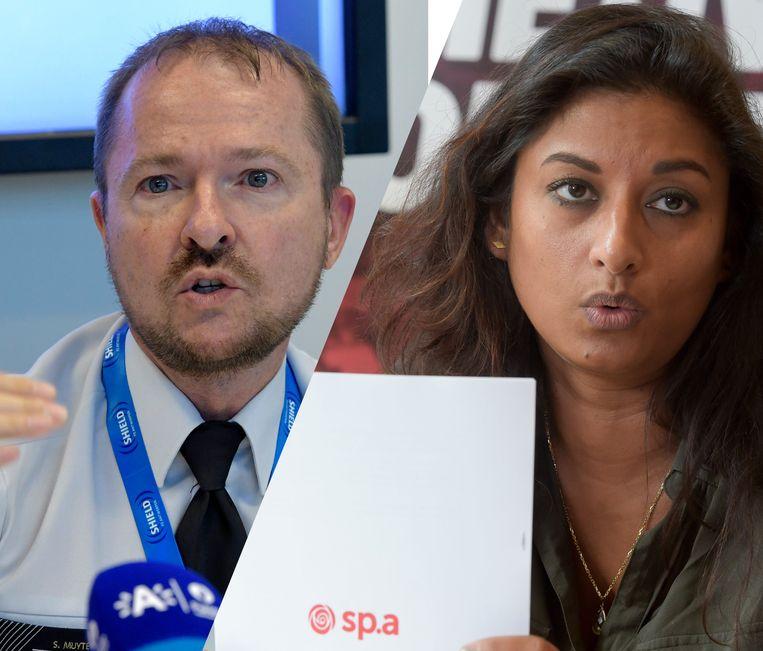 Antwerps korpschef Serge Muyters en sp.a-kandidate en ex-commissaris Jinnih Beels. Beeld Photo News