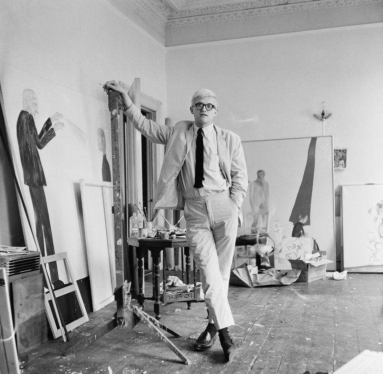 David Hockney in zijn atelier, circa 1967. Beeld Getty Images