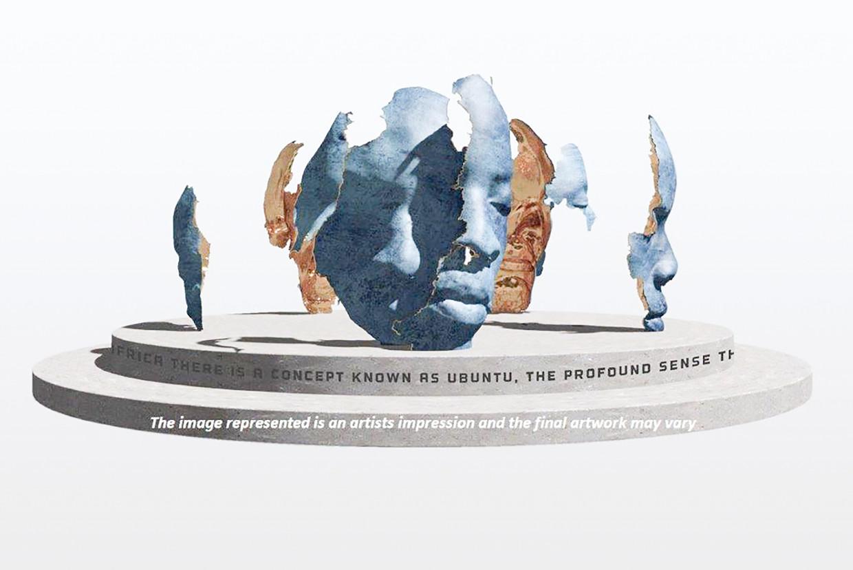 Schets van het winnende ontwerp voor het monument ter nagedachtenis aan Nelson Mandela in Zuidoost. Beeld Mohau Modisakeng