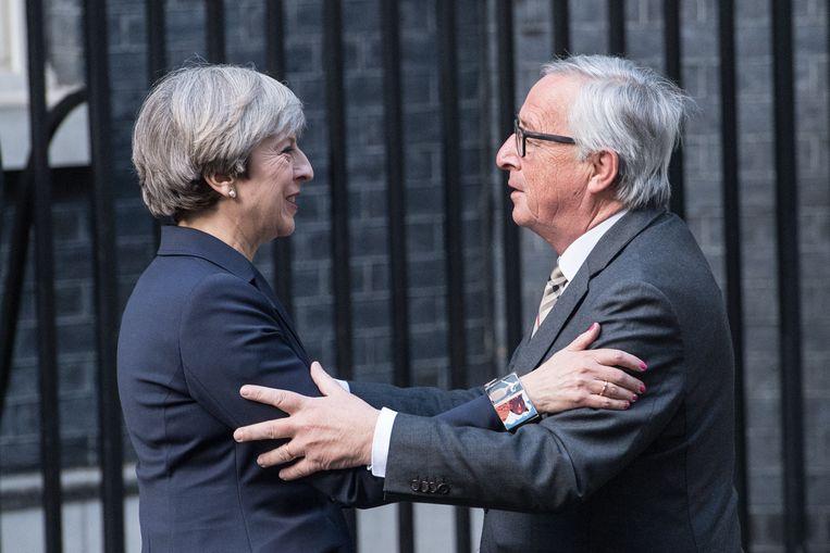Archiefbeeld, Theresa May en Jean-Claude Juncker