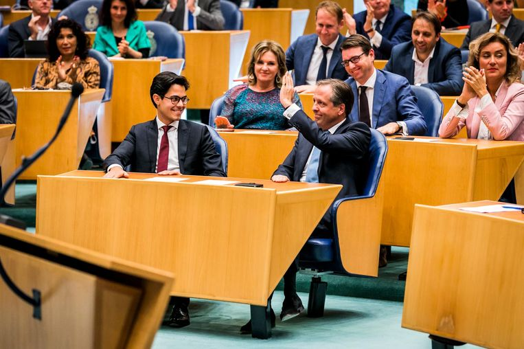 Rob Jetten en Alexander Pechtold tijdens het wekelijkste vragenuurtje in de Tweede Kamer Beeld ANP