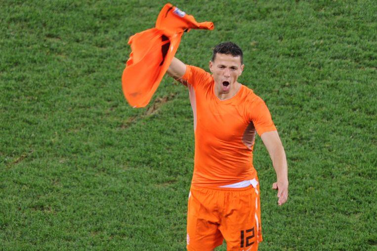 Khalid Boulahrouz (Sporting) is door het dolle heen. Beeld AFP