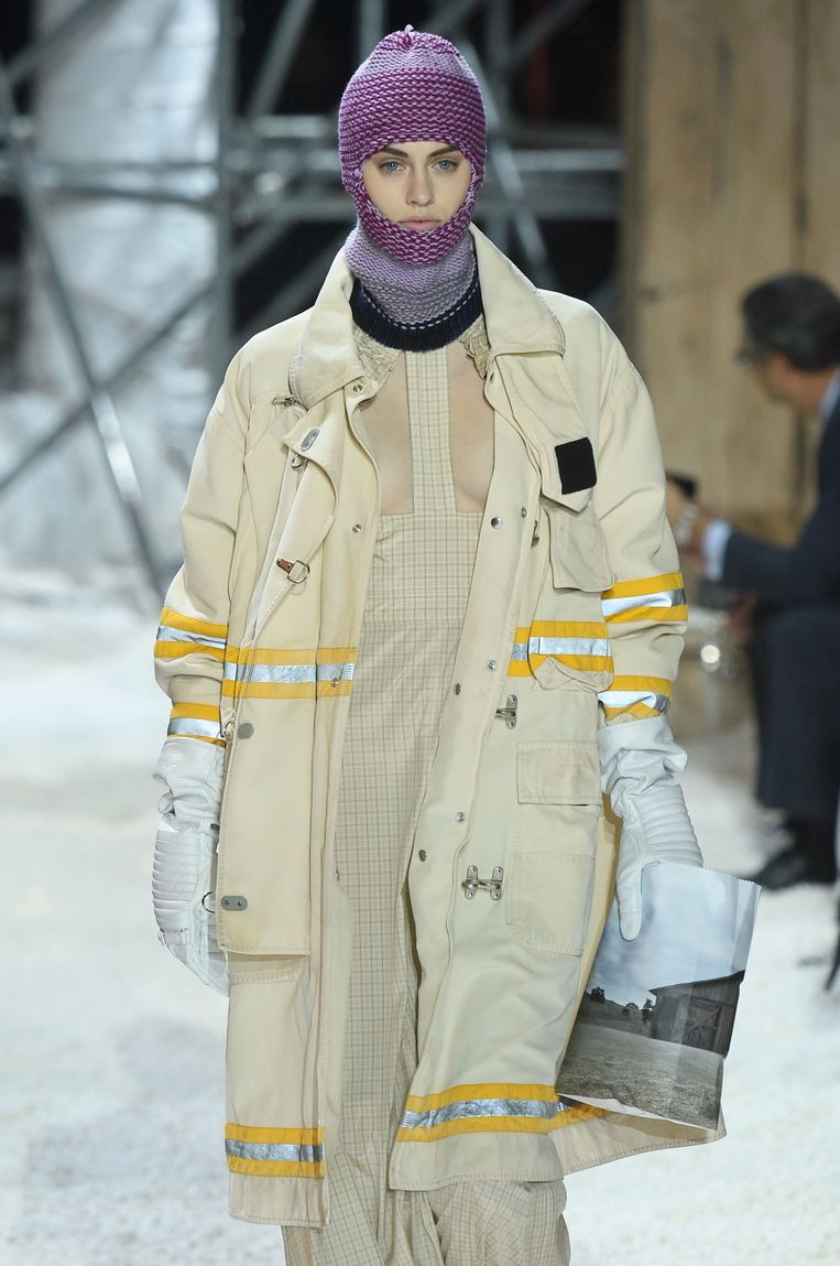 Balaclava gespot bij de herfst-wintercollectie 2018 van Calvin Klein tijdens New York Fashion Week.